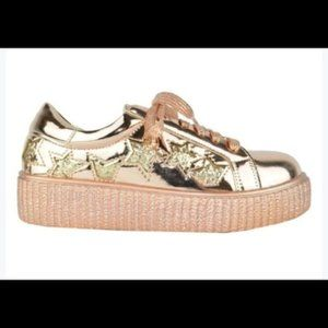 NEW WOMEN'S ROSE GOLD CREEPER STAR SNEAKERS